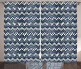 SCOCICI Nautical Decor Collection Patchwork of Denim Fabric in Nautical Style Stitch Stripes Jeans Zig Zag Chevron Image Living Room Bedroom Curtain 2 Panels Set Navy White