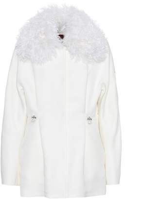 Moncler Fur-trimmed wool and silk jacket