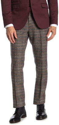 Paisley & Gray Downing Coffee Black Glen Plaid Brushed Slim Fit Suit Pants
