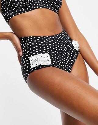 Pour Moi? Pour Moi Fuller Bust Hotspots high waist ruffled bikini bottom in polka dot
