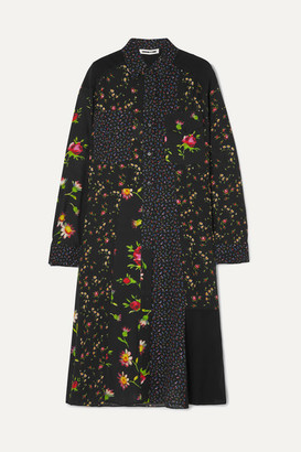McQ Paneled Floral-print Georgette Shirt Dress - Black