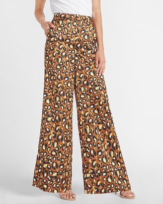 Express Ladygang High Waisted Leopard Satin Wide Leg Pant