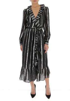 MICHAEL Michael Kors Metallic Jacquard Ruffled Wrap Dress