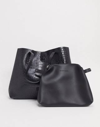 Claudia Canova unlined a-line tote bag with removable pouch in black croc