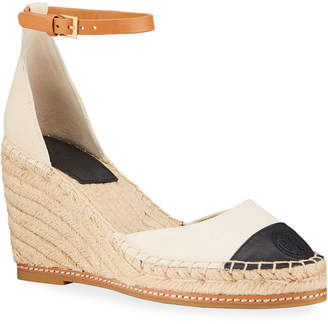 Tory Burch Colorblock Ankle-Strap Wedge Espadrilles