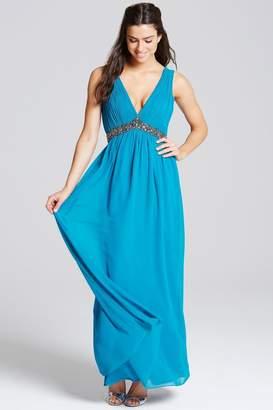 Turquoise Embellished Waist Maxi Dress