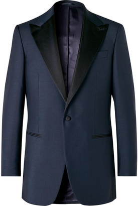 Maximilian Mogg Midnight-Blue Slim-Fit Faille-Trimmed Mohair And Wool-Blend Tuxedo Jacket