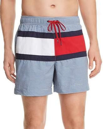 Tommy Hilfiger Logo-Print Striped Regular Fit Swim Shorts