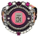 Lanvin Crystal Embellished Watch Style Bracelet