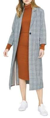 Sanctuary Plaid Notch Lapel Coat