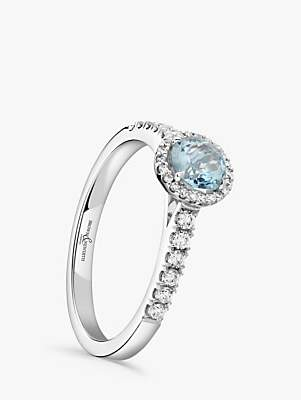 Brown & Newirth 18ct White Gold Round Aquamarine and Diamond Shoulder Engagement Ring, 0.22ct
