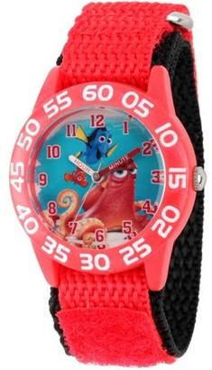 Disney Finding Dory, Nemo, Hank and Dory Boys' Red Plastic Time Teacher Watch, Red Hook and Loop Nylon Strap with Black Backing