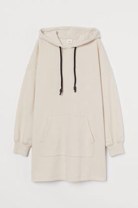 H&M Hooded Sweatshirt Dress - Beige