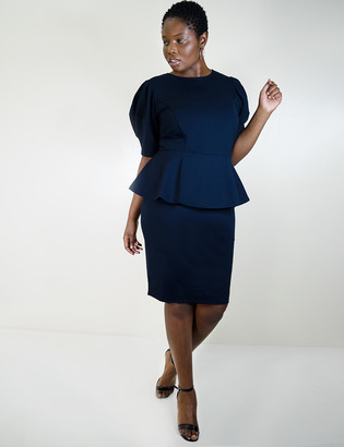 ELOQUII Puff Sleeve Peplum Dress