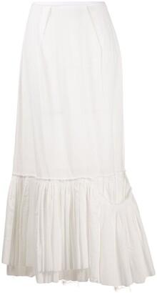 Marni Frayed Peplum Hem Skirt