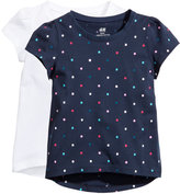 H&M 2-pack Jersey Tops - Dark blue/dotted - Kids