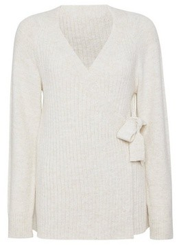 Dorothy Perkins Womens Oatmeal Rib Wrap Jumper