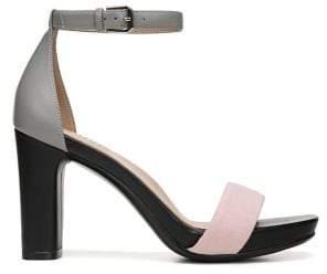 Naturalizer Joy Platform Ankle Strap Leather & Suede Sandals