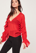 Missguided Pleated Frill V Neck Blouse Red