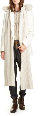 Brunello Cucinelli Hooded Cashmere Scarf with Genuine Goat Fur Trim