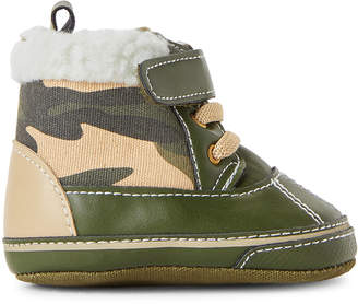First Steps (Infant/Toddler Boys) Olive Camo Duck Boots