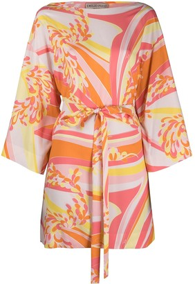 Emilio Pucci Abstract-Print Tie-Waist Beach Dress