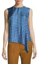 Diane von Furstenberg Sleeveless Ruffle Front Silk Top