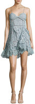 Self-Portrait Paisley Vine Sleeveless Mini Dress, Light Blue