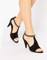 London Rebel T-Bar Mid Heeled Sandals