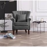 "Xan Channel 18.5"" Wingback Chair Rosdorf Park Fabric: Gray"