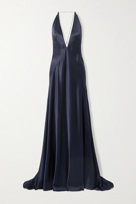Michael Lo Sordo Alexandra Open-back Silk-satin Gown - Navy