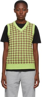 Stussy Green Melange Checker Sweater Vest