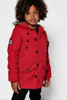 boohoo NEW Mens Boys Fully Padded Faux Fur Hooded Jacket in
