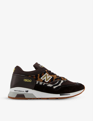 New Balance M1500 leopard-print suede and mesh trainers