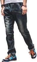 RUIXI Men's Loose Baggy Denim Long Pants Hip Hop Elastic Waist Jeans