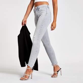River Island Womens Light Grey Molly mid rise jeggings