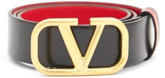 Valentino V-logo Leather Belt - Black Red