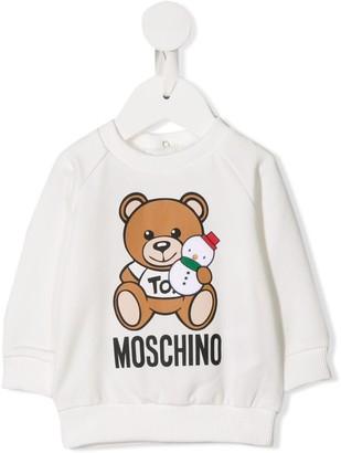 Moschino Kids logo teddy print sweatshirt