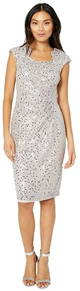 Tahari ASL Cap Sleeve Sequin Stretch Lace Side Draped Dress (Silver Mist) Women's Dress