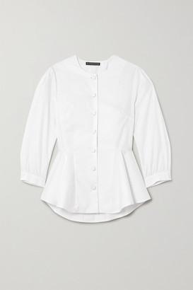 ALEXACHUNG Herringbone Cotton-blend Peplum Top - White