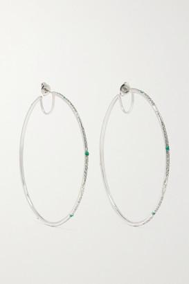 Loree Rodkin Giant Disco 18-karat White Gold, Diamond And Paraiba Hoop Earrings
