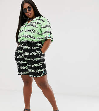 Asos DESIGN x glaad& Curve shorts co-ord in unity print-Black