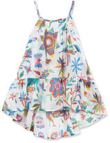 Milly Minis Folkloric High-Low Coverup, White Pattern, Size 4-7