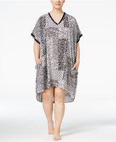 DKNY Plus Size Printed High-Low Caftan