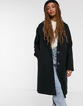 Pieces Alice wool blend coat in black