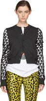 Junya Watanabe Grey and Black Geometric Sleeves Cardigan