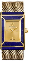Tory Burch Robinson Watch, Special Edition, Gold-Tone/Lapis, 38 X 25 Mm