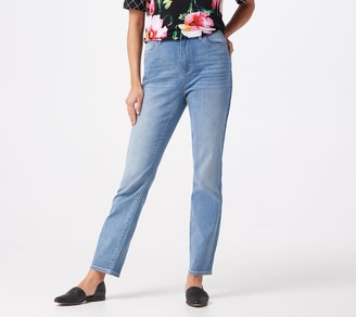 Susan Graver Petite High Stretch Denim Curvy Fit Jeans