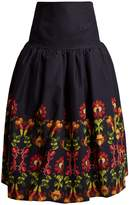 Stella Jean Floral-print gathered cotton-blend midi skirt