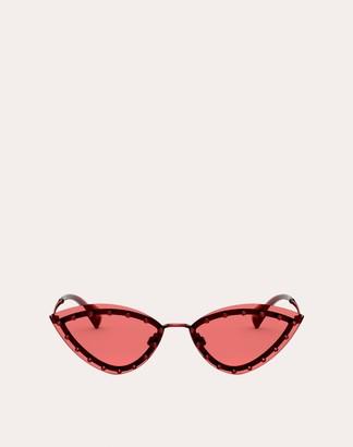 Valentino Triangular Metal Glasses With Crystal Studs Women Green 100% Metallic Fibre OneSize